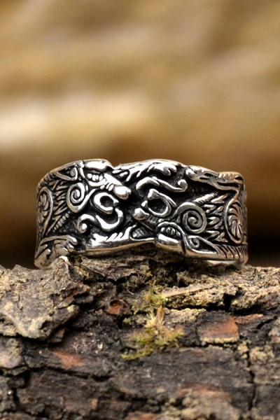 Wikinger Prachtring Geri und Freki aus Silber