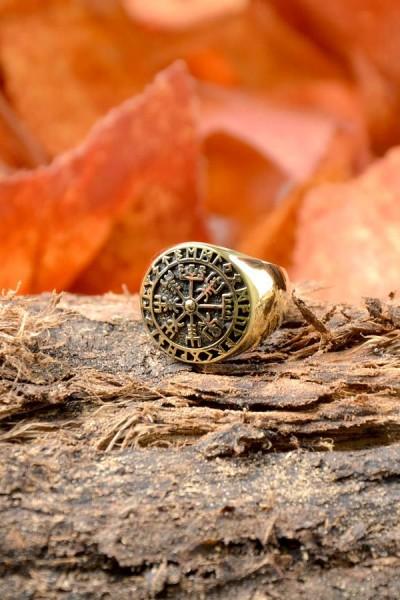 Wikinger Ring Vegvisir aus Bronze
