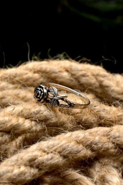 Mittelalter Ring Rose aus Silber