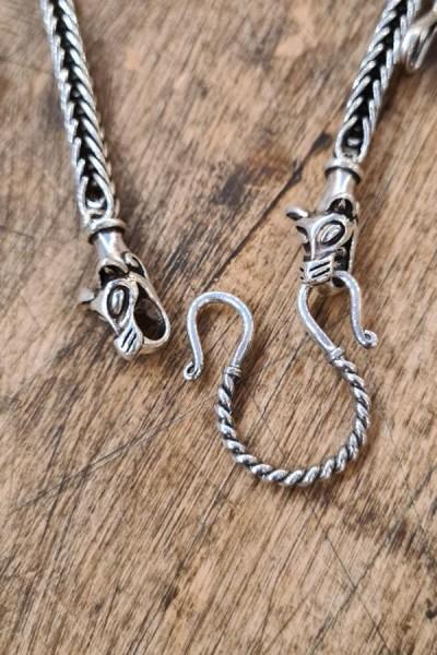 Wikinger Halskette mit Wolfskopf aus Silber - handgefertigt 65 cm