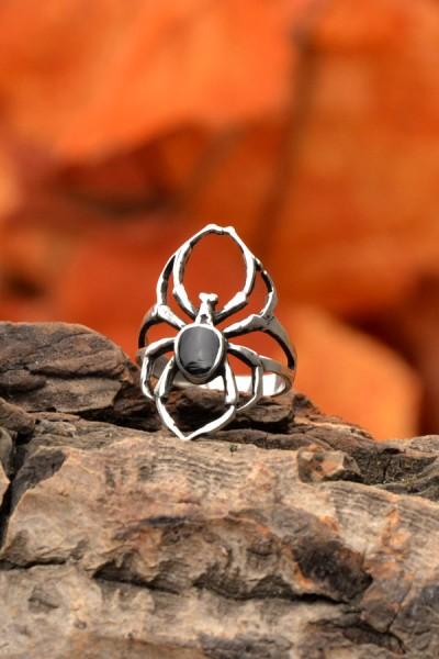 Gothic Ring Arachne mit Onyx aus Silber