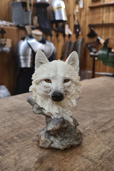 Kleine Büste Wolfskopf Wächter des Nordens - handbemalt