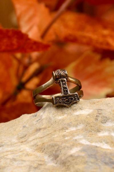 Wikinger Ring Floki mit Thorshammer aus Bronze