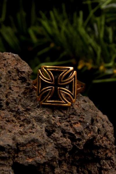 Mittelalter Ring der Kreuzritter mit Tatzenkreuz aus Bronze