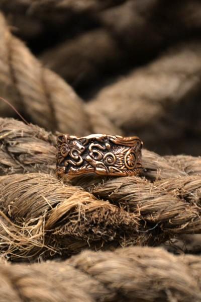 Wikinger Prachtring Geri und Freki aus Bronze