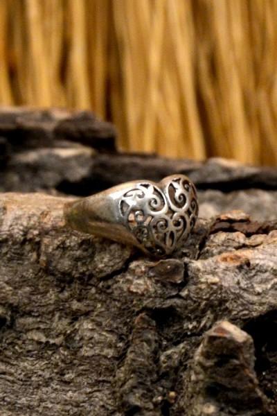 Mittelalter Ring Keltenherz aus Silber
