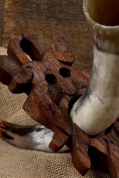 Wikinger Trinkhornständer Mösgard Maske aus Holz