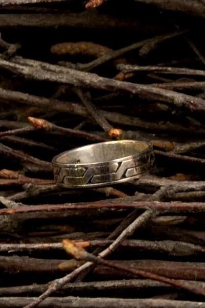 Mittelalter Ring Flechtband aus Silber