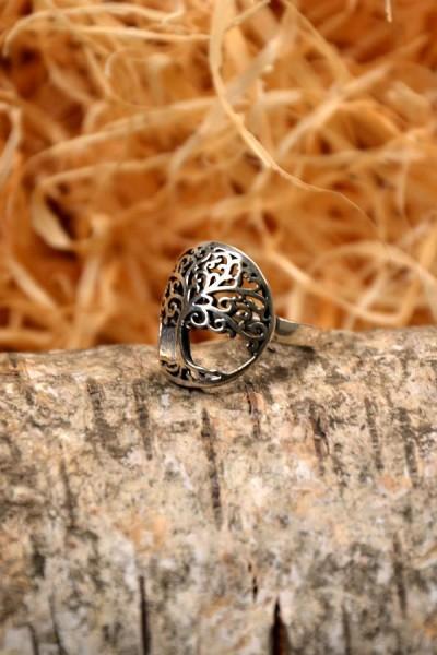 Mittelalter Ring Lebensbaum aus Silber