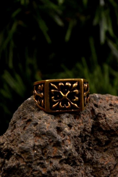 Mittelalter Siegelring Kreuz aus Bronze