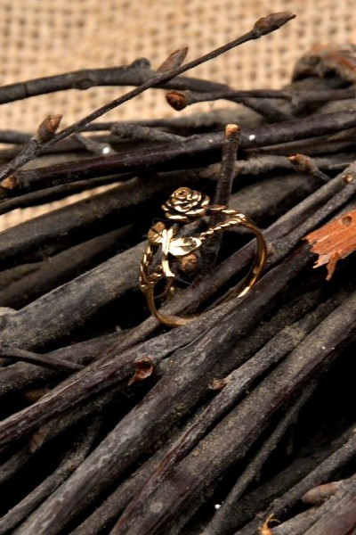 Mittelalter Ring Rose aus Bronze