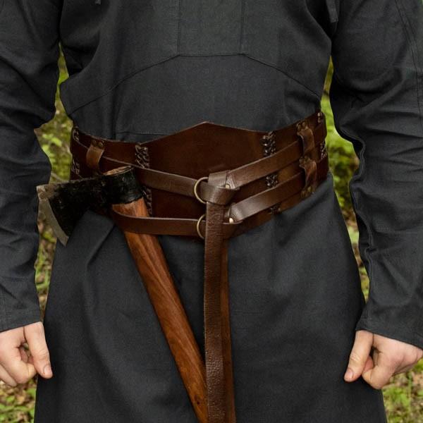 Breiter LARP Doppelgürtel aus Büffelleder braun