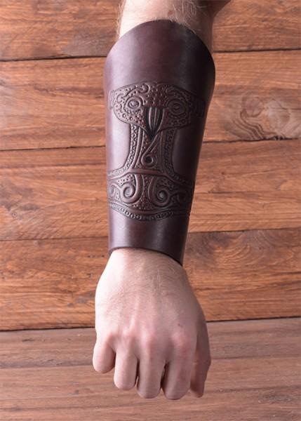 Wikinger Armschiene Thors Hammer aus Leder