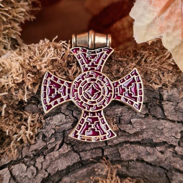Angelsachsen Cloisonné Anhänger Ixworth-Kreuz aus Bronze - Replik