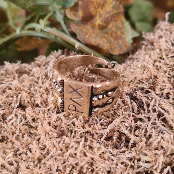 Mittelalter Fingerring PAX aus Bronze - Replik
