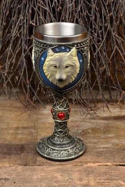 Fantasy Kelch Wolfskopf mit Edelstahleinsatz - handbemalt
