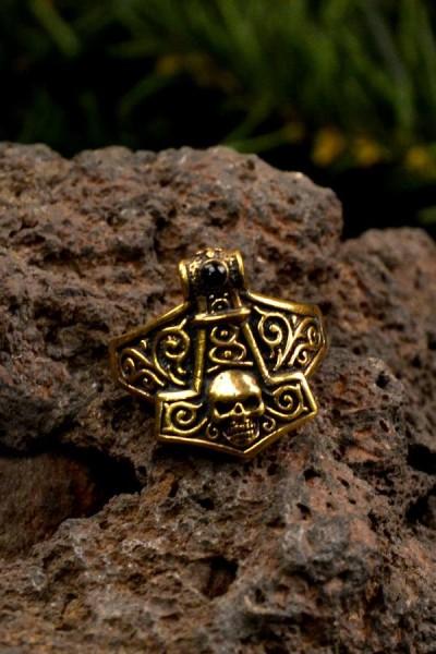 Wikinger Ring Thorshammer mit Onyx aus Bronze