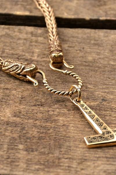 Wikinger Halskette mit Drachenköpfe aus Bronze 55 cm