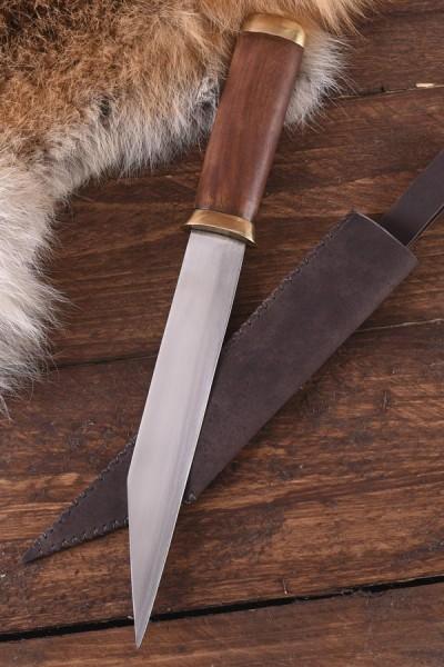 Kurzsax mit Holzgriff und Lederscheide