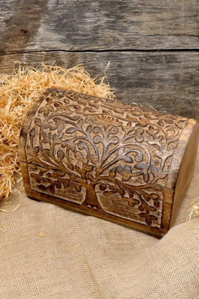 Mittelalter Truhe Lebensbaum aus Holz