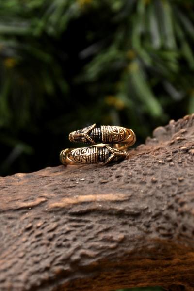 Wikinger Ring Drachenkopf aus Bronze