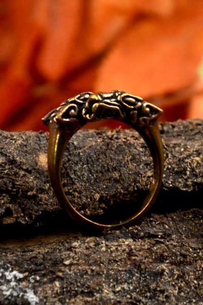 Wikinger Ring Odins Wölfe aus Bronze