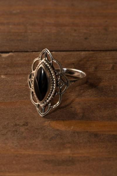 Elfen Ring mit Onyx aus Silber