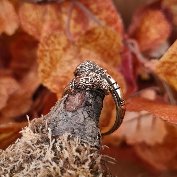 Wikinger Ring Odins Raben aus Bronze