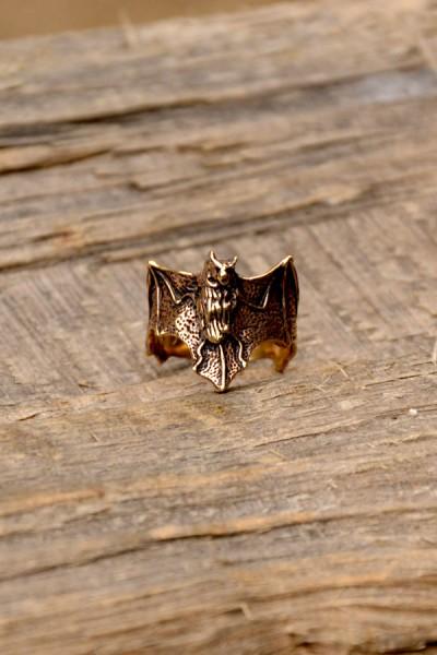 Hexen Ring Fledermaus aus Bronze
