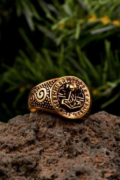 Wikinger Ring Thorhammer mit Runen aus Bronze
