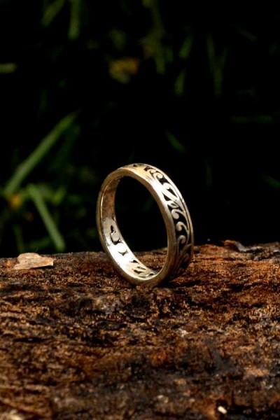 Elfen Ring Mitternachtsglanz aus Silber