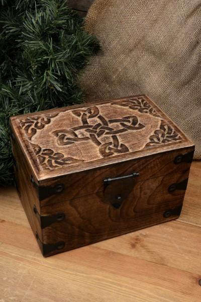 Mittelalter Truhe Keltenkreuz aus Holz