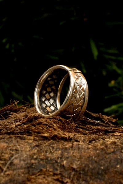 Wikinger Ring Flechtmuster aus Silber