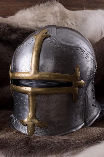 Mittelalter Bogenschützen-Schaller mit Klappvisier