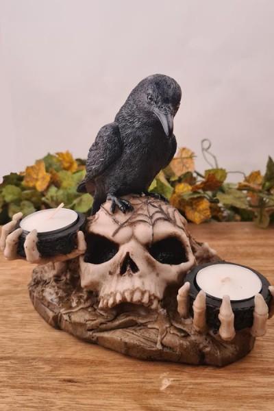 Gothic Teelichthalter Rabe auf Schädel - handbemalt